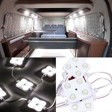 Favoto 10x4 Kit de Luz Interior de Módulo LED 5050 Iluminación de Techo Lámpara de Lectura Trabajo Impermeable para Coche de 12V Furgoneta Camión ...