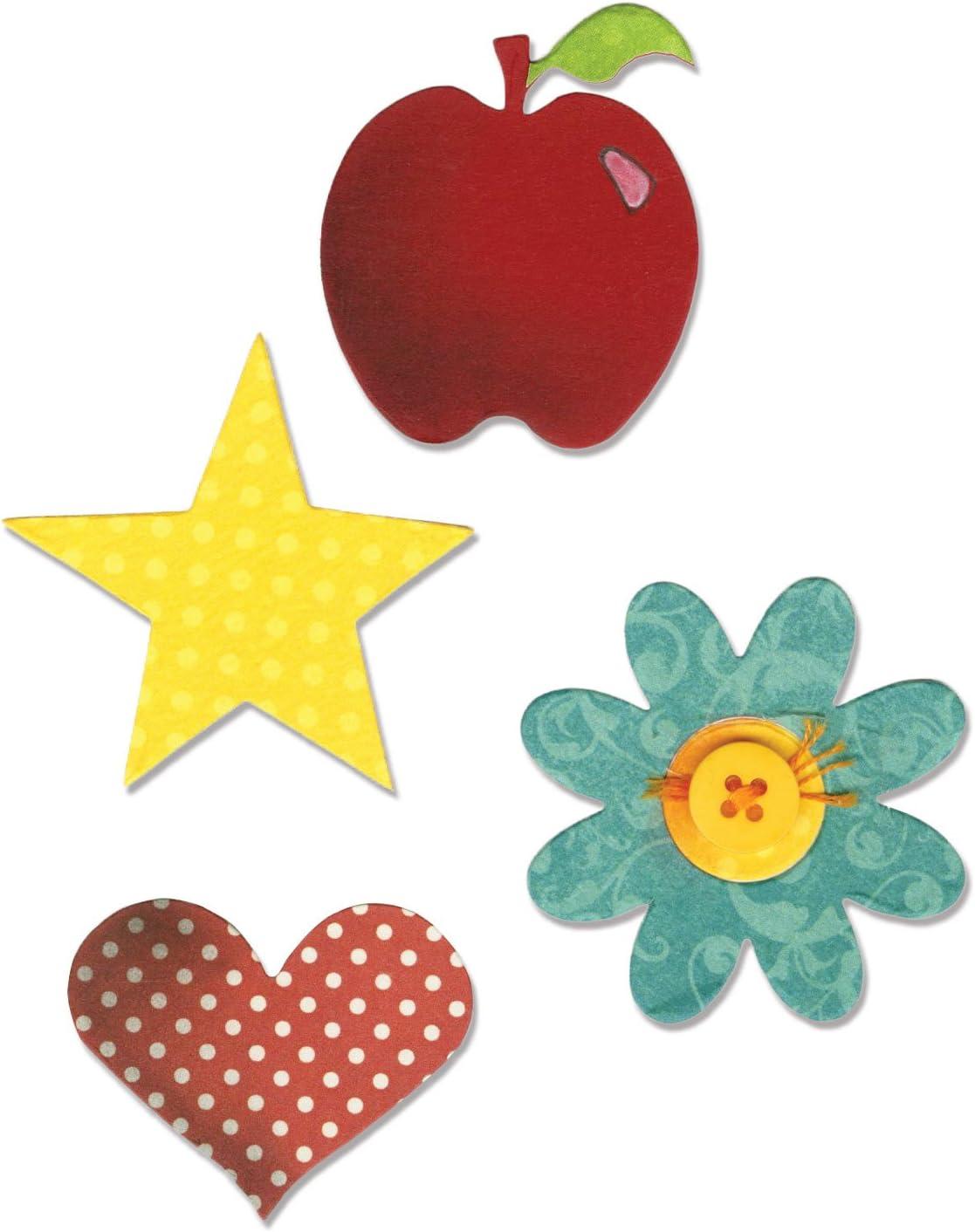 Sizzix A10598 Bigz Die, Apple, Flower, Heart & Star