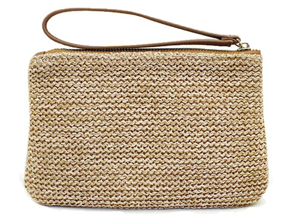AGNETA Women's Hand Wrist Type Straw Clutch Summer Beach Sea Handbag (Brown Large)
