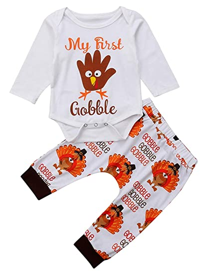 e76e45611b67 Infant Baby Boys Girls Clothes Set Turkey Thanksgiving Outfit My First  Gobble Letter Print Long Sleeve