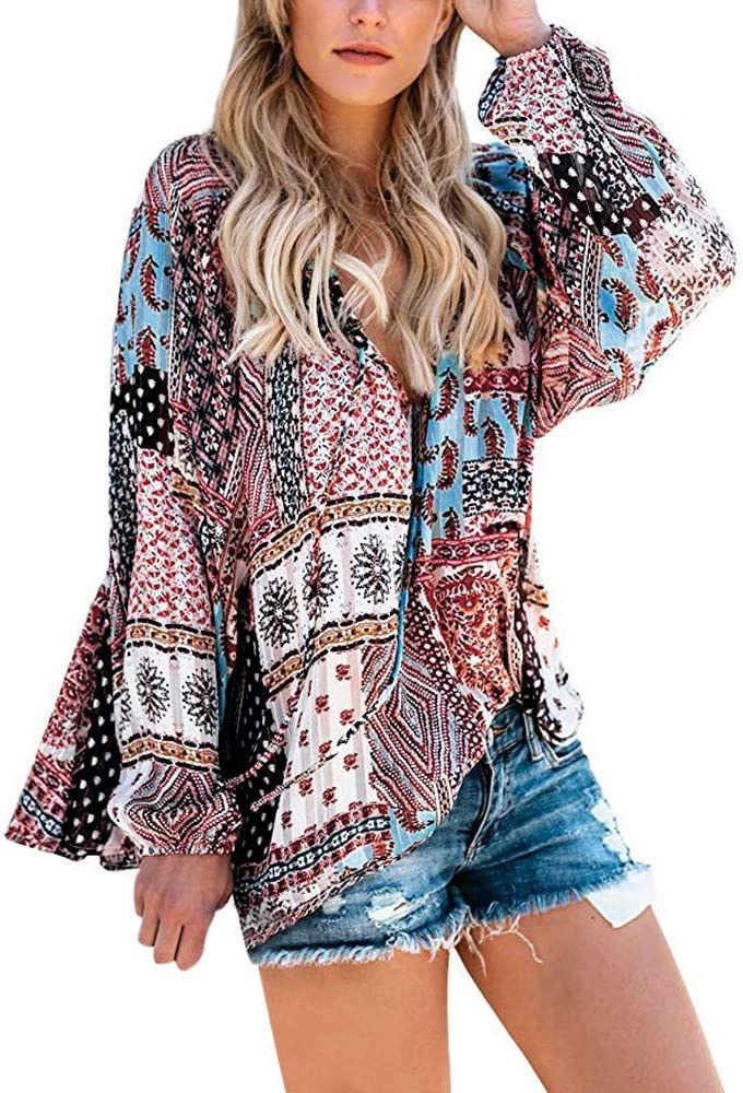 Kinlene Camisetas Tops Blusas Womens Casual V Neck Long Sleeve Floral Print T-Shirts Tops Blouse(Multicolor, s): Amazon.es: Ropa y accesorios