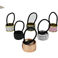 Pack of 6 Alloy Metal Glitter Cuff Wrap Ponytail Holder Hair Tie Fashion Accessory Set for Women Girls