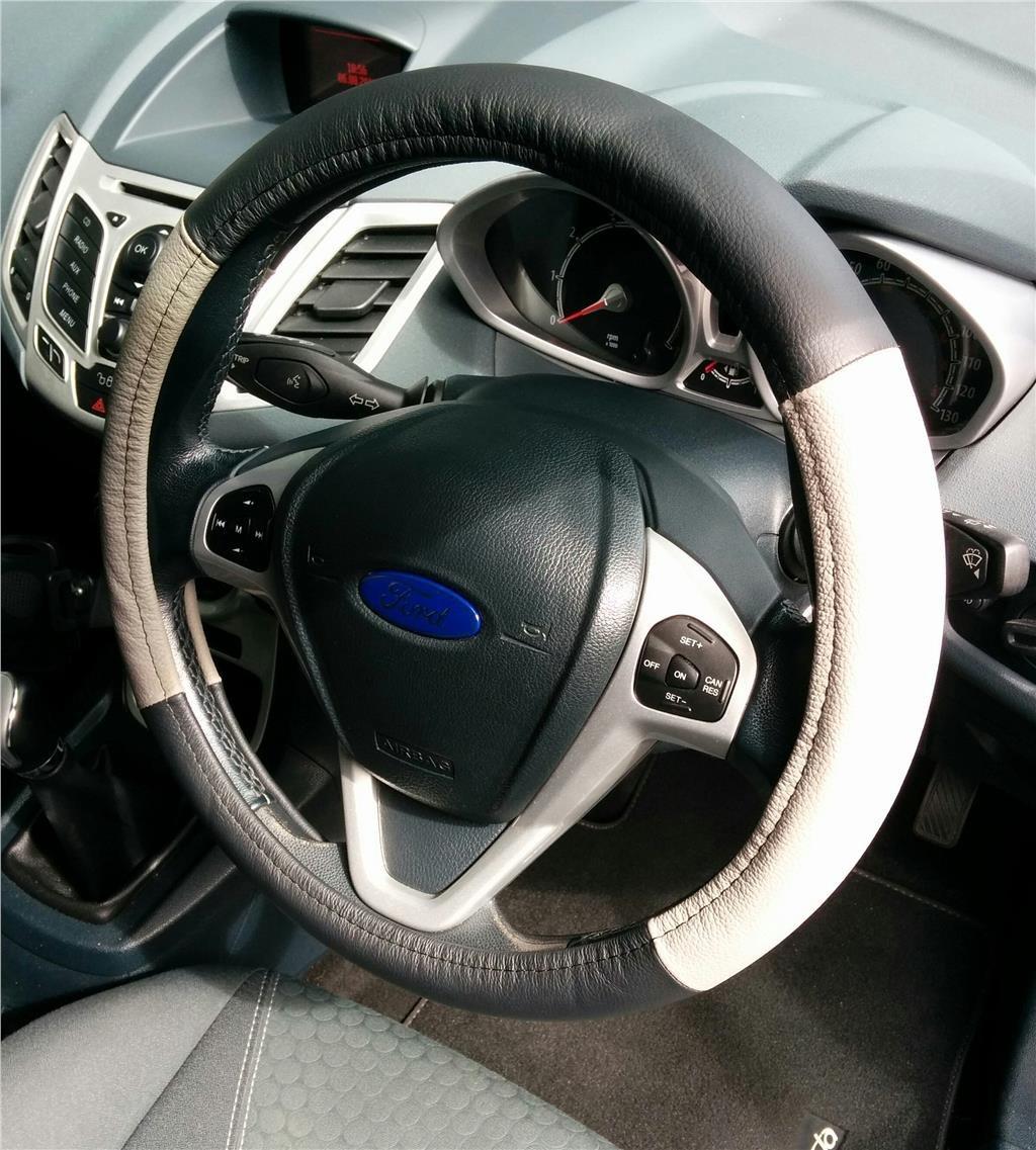 MINI CAB DRIVING STEERING CAR WHEEL COVER GENUINE BLACK-GREY LEATHER COMFORT AutoPower