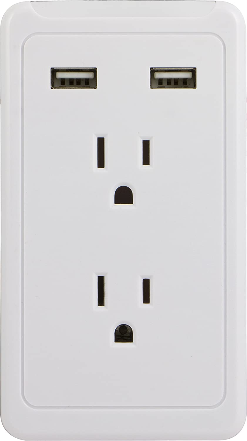 GE Surge Protector Charging Station, Wall Mount Adapter, Power Tap with Phone Holder Shelf, 2 Grounded Outlets, 2 USB Ports, LED Charging Status Indicator, 2.1A Fast Charge, 450 Joules, White, 13465