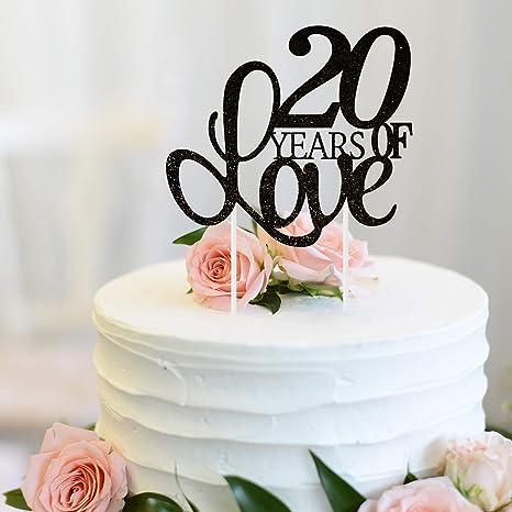 Amazon.com: Decoración para tarta de 20 años de amor, 20 ...