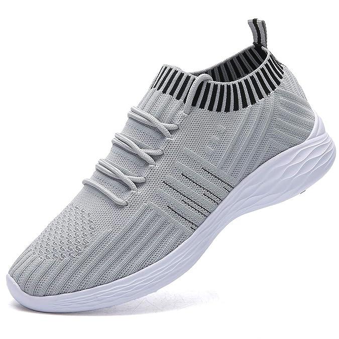 NASONBERG Damen Leichte Laufschuhe Trainer Sneaker Turnschuhe Atmungsaktive Fitnessschuhe Sportschuhe,Grau,39 EU