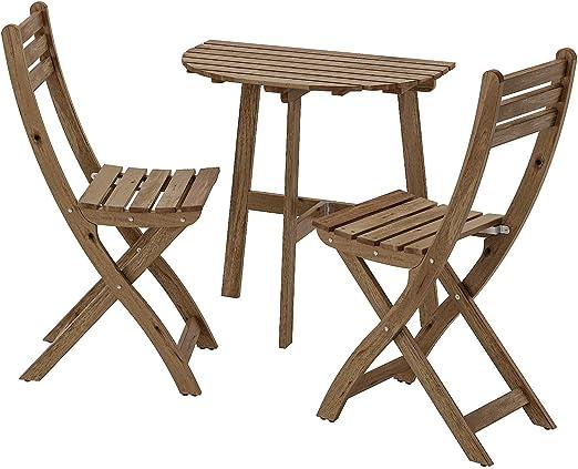 Opulence Trading - Juego de muebles plegables para jardín al aire libre (1 mesa + 2 sillas), 2 cojines incluidos: Amazon.es: Jardín