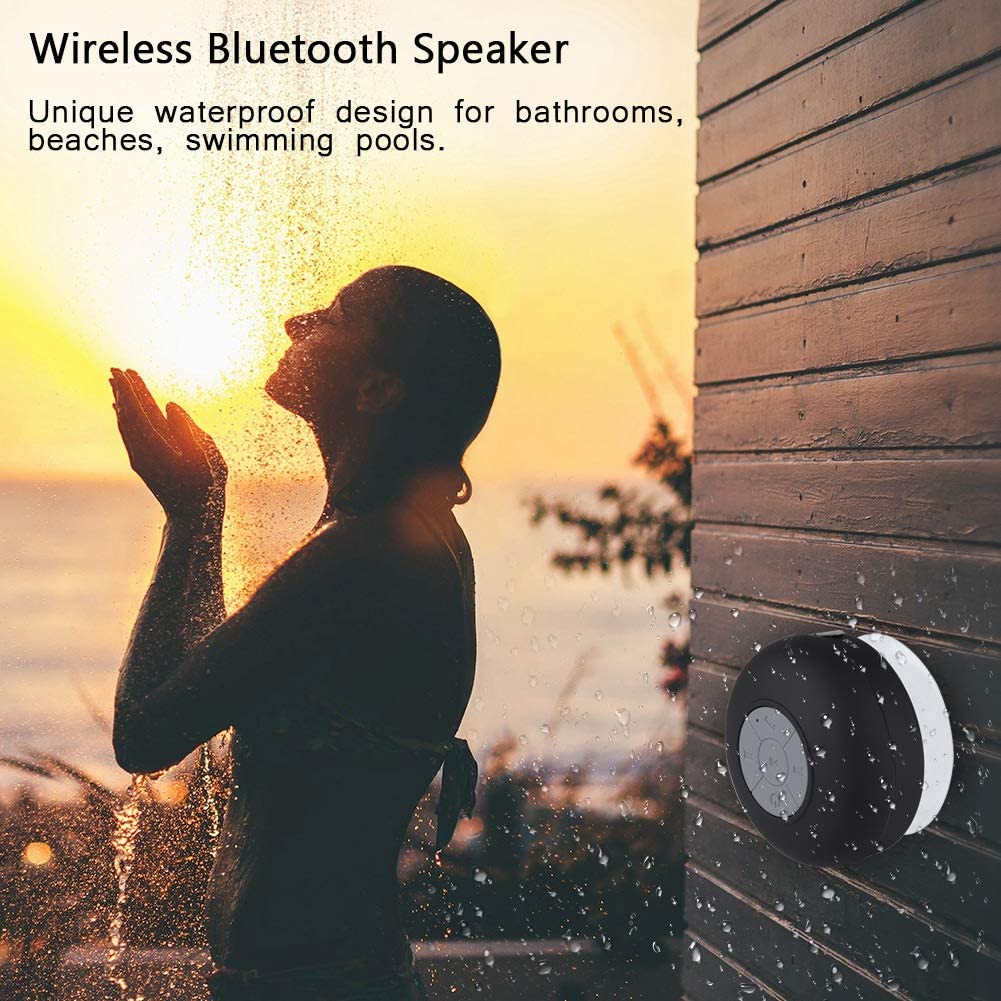 01 Pasamer Outdoor Portable Mini Waterproof Wireless Bluetooth Music Speaker with Suction Cup Black White