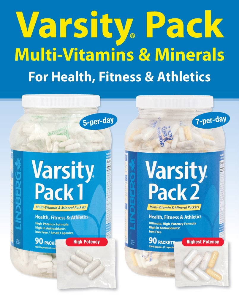 Lindberg Varsity Pack 1, 90 Multi-Vitamin and Mineral Packets with Antioxidants, Carotenoids, and more