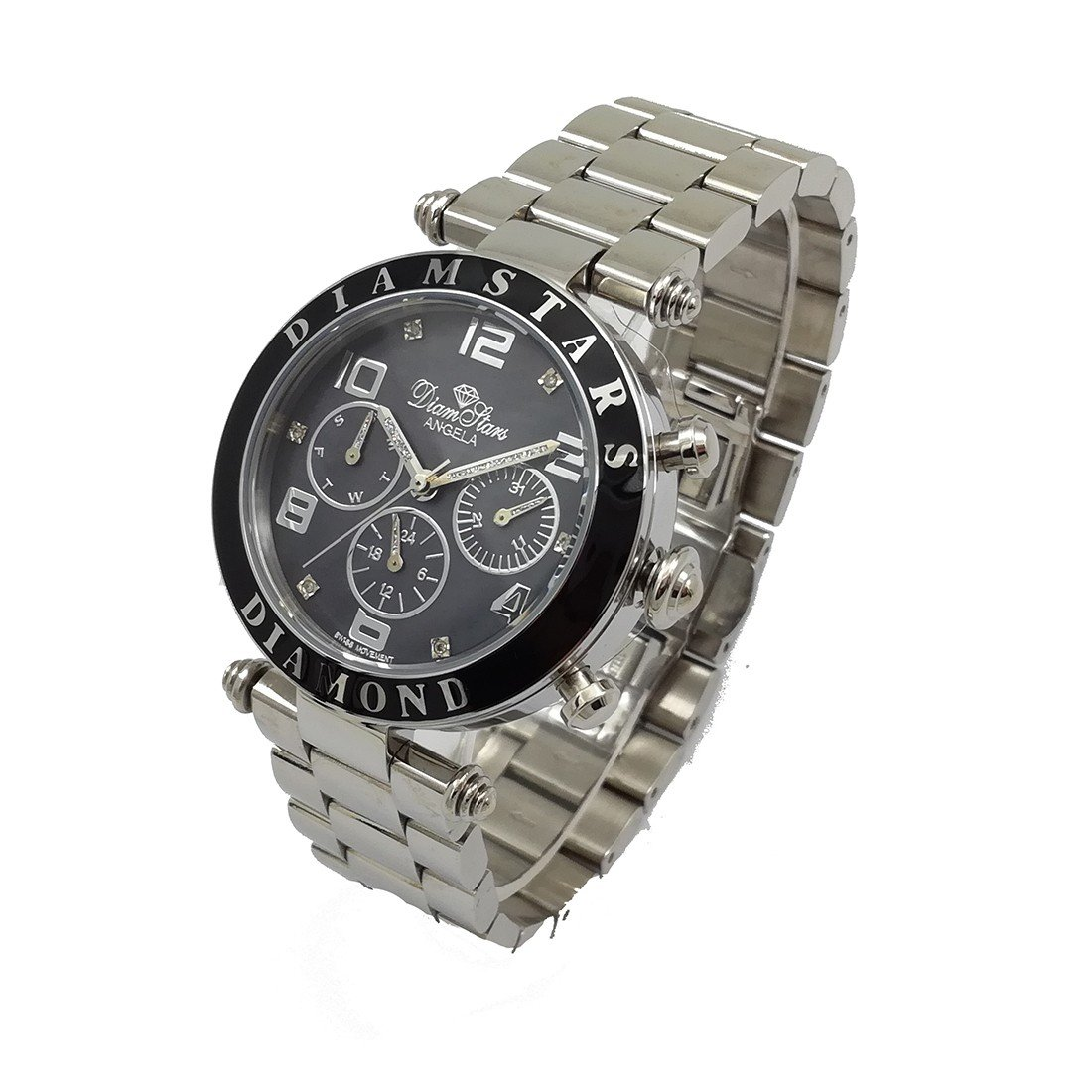 WATCH WOMAN ''ANGELA'' CHRONOGRAPH Black Background and Steel - Stainless steel