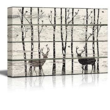 Rustic Canvas Wall Art.Wall26 Deer In Birch Forest Wood Cut Print Artwork Rustic Canvas Wall Art Home Decor 16x24 Inches