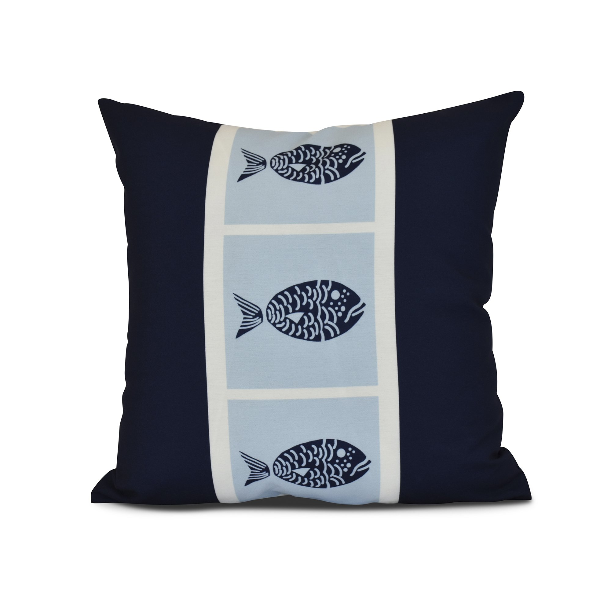 E by design Fish Chips Animal Print Pillow, 16 x 16, Navy Blue