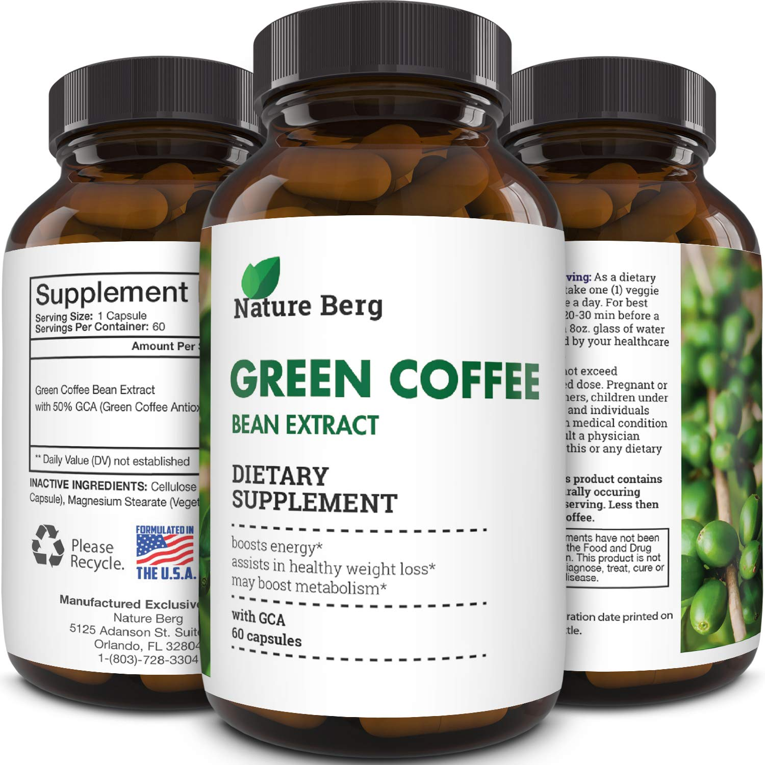 Natural Raw Green Coffee Bean Extract - Extra Strength Pure Premium Antioxidant Beans - 800 mg Max Fat Burner Supplement Super Cleanse Pills for Weight Loss Benefits Reviews - Nature Berg by Nature Berg