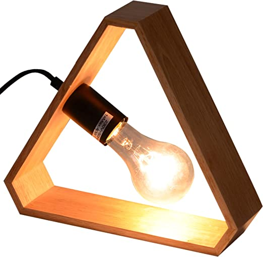 HOMCOM lámpara LED E27 de Mesa Triangular de Madera Minimalista ...