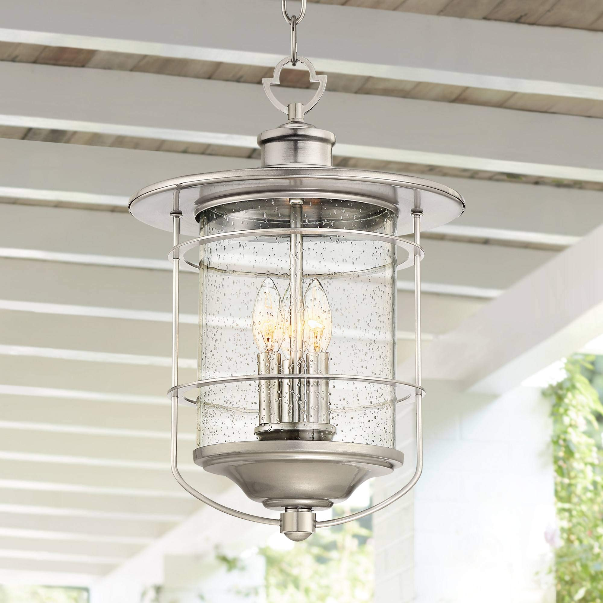 Casa Mirada Industrial Outdoor Light Hanging Lantern Brushed Nickel Damp Rated 19'' Clear Seedy Glass for Porch Patio - Franklin Iron Works