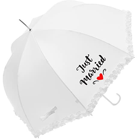 Susino Parapluie Mariage - Just Married Paraguas clásico, 86 cm, 90 Liters, Blanco