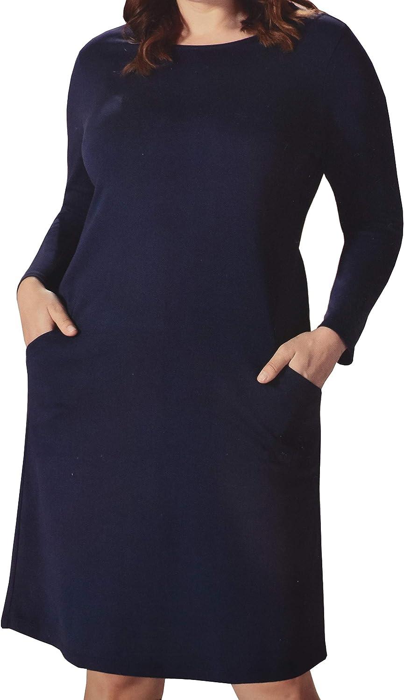 UP2FASHION Elegantes Damen Kleid Businesskleid Abendkleid Baumwolle Blau Marine Langarm