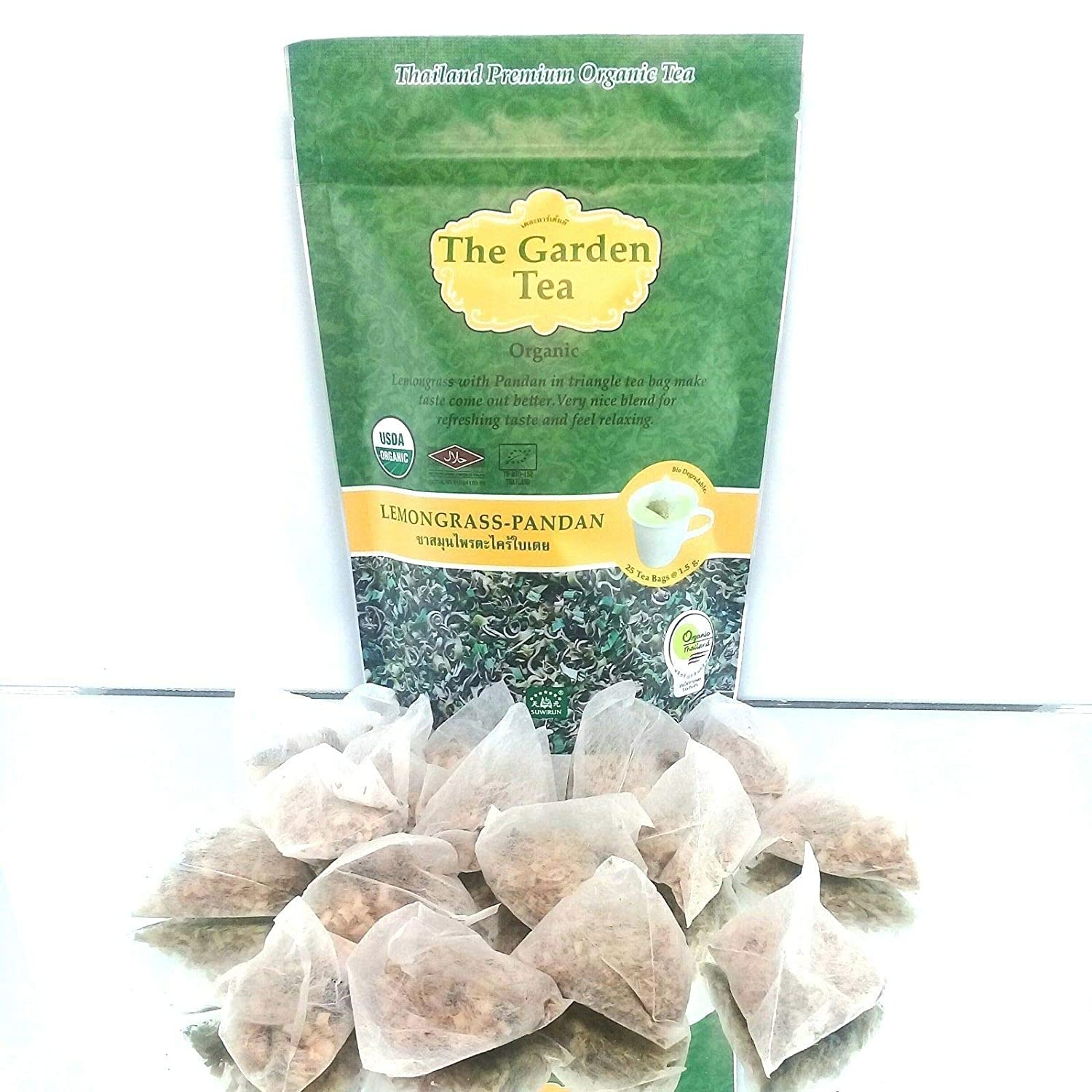 Lannasmile88 Thai Premium Certified USDA 100% Organic Pure Lemongrass Pandan Herbal Tea in Triangle Tea Bag