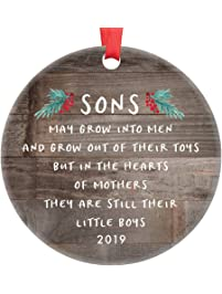 Gift for Son Christmas Ornament 2019 Sons In The Hearts of Mothers Poem Present Idea, Mom from Young or Grown Child Xmas...
