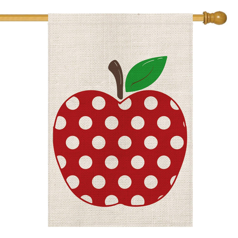 LuckyTagy Polka Dot Apple House Flag Double Sided, Back to School First Day of School Teacher Appreciation Rustic Farmhouse Yard Outdoor Decoration 28 x 40 Inch