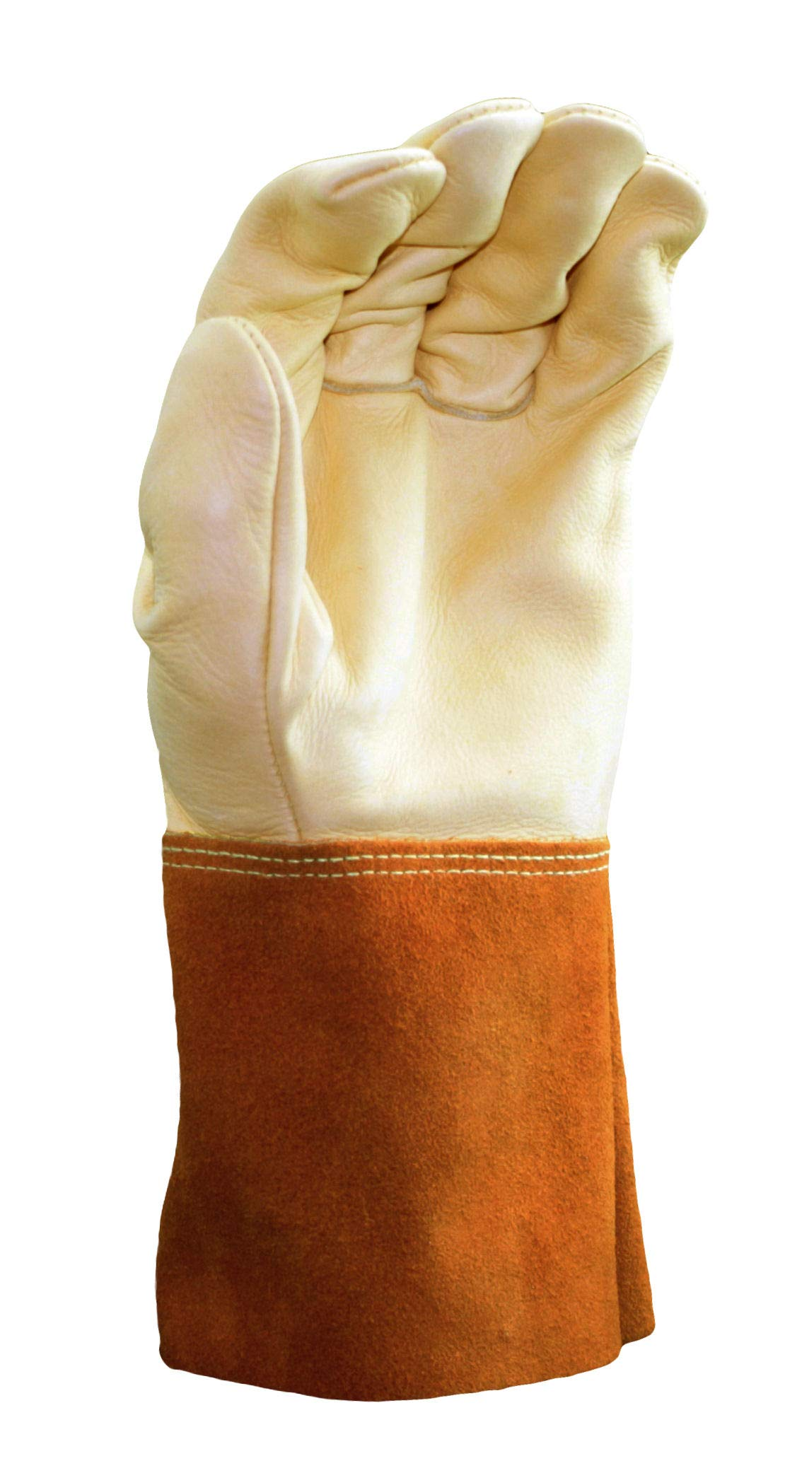Cowhide Welder Gloves with Leather Gauntlet Cuff, Premium Grade | Beige/Orange Color, Unlined Lining, Kevlar Stitching Material - (Pack of 12) by Stauffer Glove & Safety (Image #2)