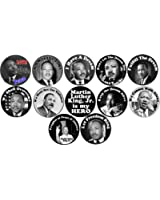 "Set of 12 MARTIN LUTHER KING JR 1.25"" Pinback Buttons Black History Month MLK"