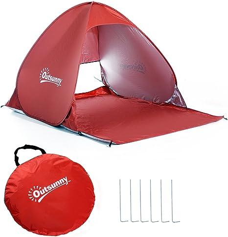 Outsunny Tienda de Campaña Pop-Up Instantánea y Portátil con Ventanas Tipo Refugio para Playa Picnic y Camping con Protección Solar UV (Rojo): Amazon.es: Jardín