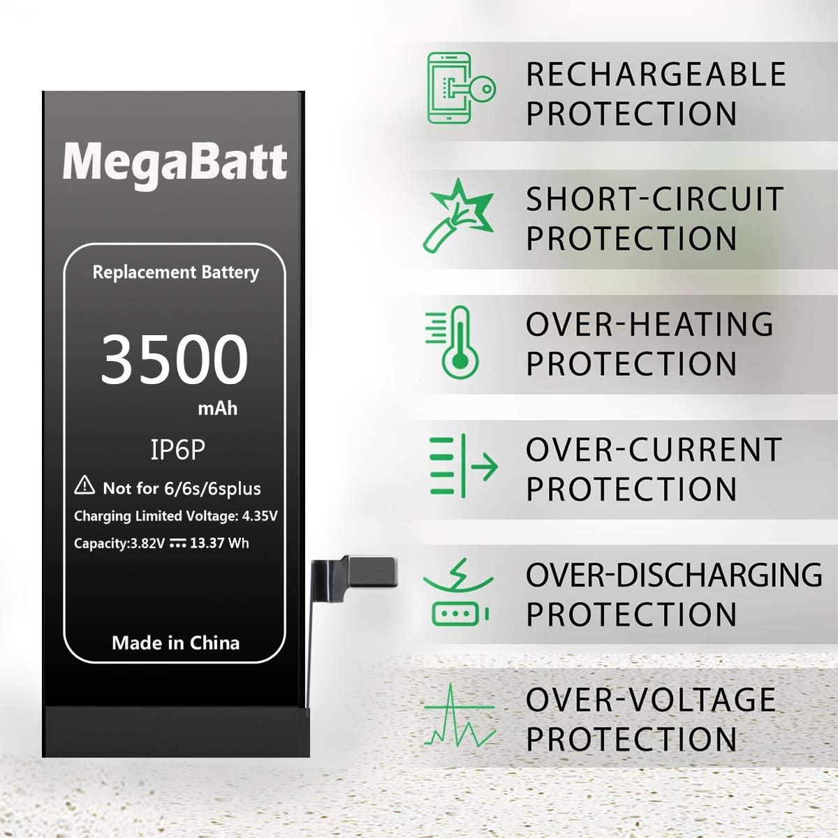 MegaBatt Battery for iPhone 6 Plus 3500mAh High Capacity Replacement Battery New 0 Cycle with Complete Repair Tool Kits and Instruction 1-Year Warranty