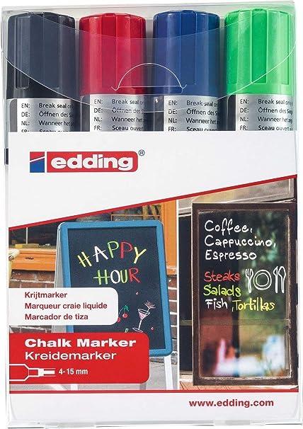 Edding 4090-4999 - Caja con 4 marcadores de tiza líquida para pizarras y vidrio