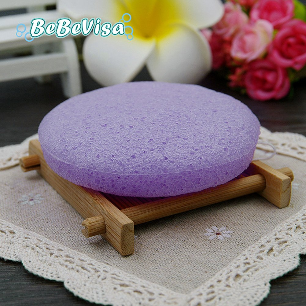 Lavender Konjac Sponge All Natural Bebevisa Facial Sponge Relieve and Calm,Accelerate Cell Regeneration,Perfect to Combat Spot Prone Skin,Oily Skin Facial Sponge Puff, Face Scrub Face Washer