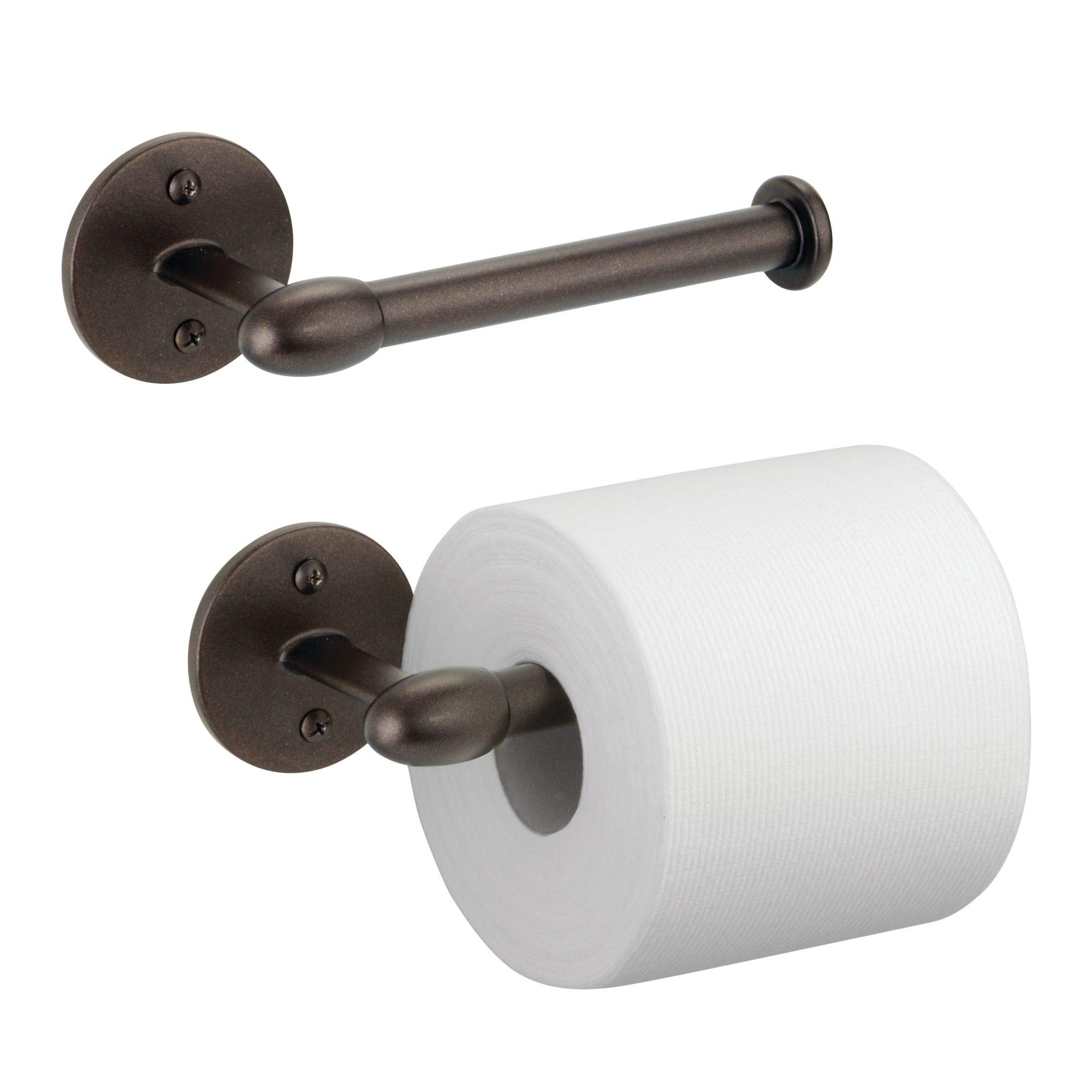 mDesign Modern Metal Wall Mount Toilet Tissue Paper Roll Holder and Dispenser for Bathroom Storage - Holds and Dispenses One Roll, Mounting Hardware Included - 2 Pack, Strong, Durable Steel in Bronze