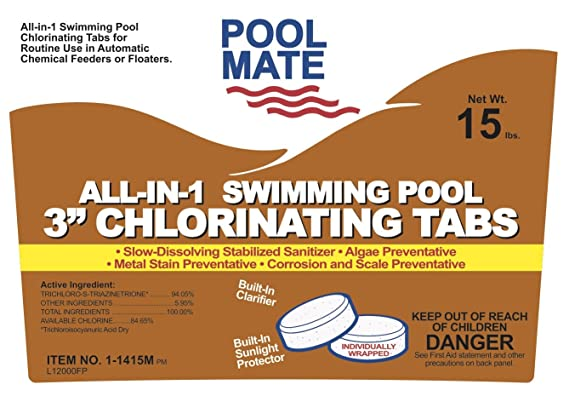 Amazon.com : Pool Mate 1-1415M All-in-1 Swimming Pool 3-Inch Chlorinating Tablets, 15-Pound : All In One : Garden & Outdoor