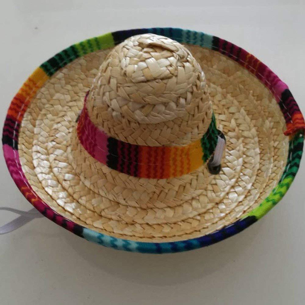 Godea Course Mini pour Animal Domestique Chiens Sombrero Chapeau de Soleil Plage Fête Chiens de Chapeaux de Paille Chapeau de Style Mexicain pour Chiens et Chats