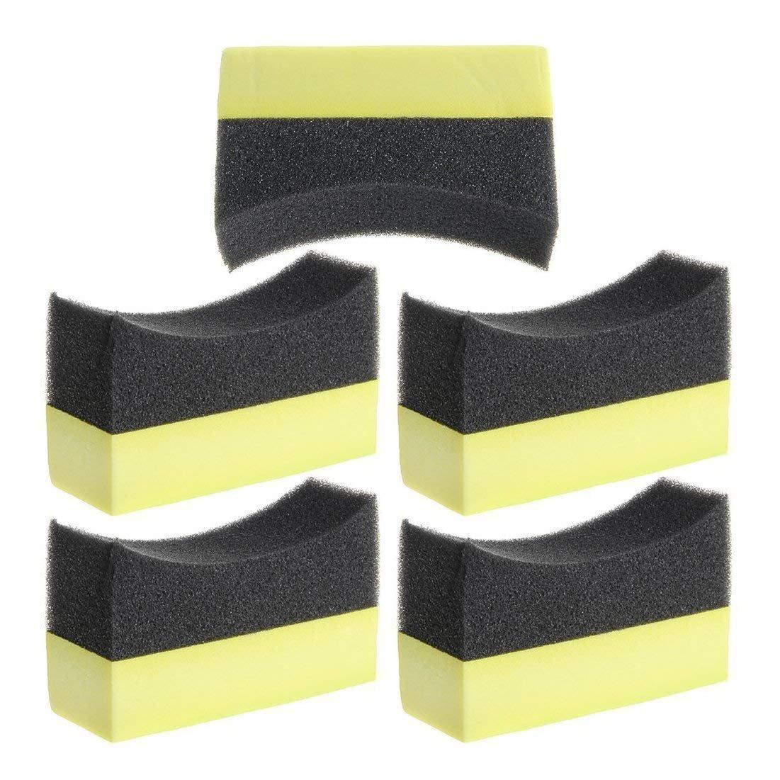 Yi-Qiu 5x Professional Automotive Car Wheel Washer Tyre Tire Dressing Applicator Curved Foam Sponge Pad Black+yellow
