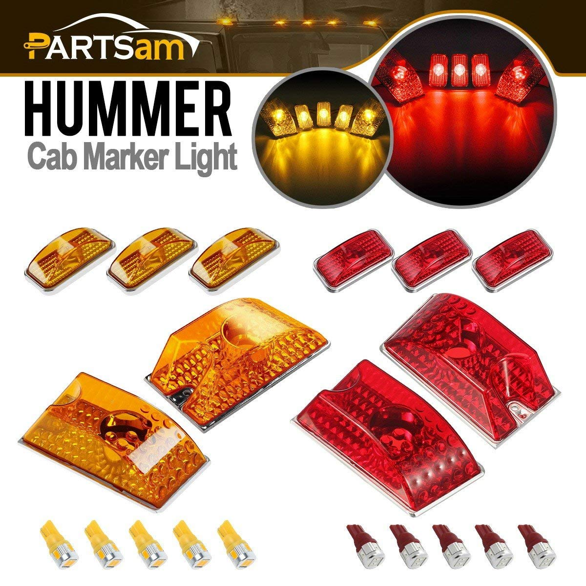 5xRed+5xAmber Partsam Whole Assembly Set Lens 264160 Cab Marker Roof Running Crystal Chrome Lights with T10 194 168 W5W 6-5730-SMD LED Bulbs Replacement for 2003-2009 Hummer H2 SUV SUT