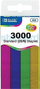 BAZIC 3000/Pack Standard (26/6) Metallic Color Staples, Stapler Refill Standard Size Staple, Assorted Colors, 1-Pack