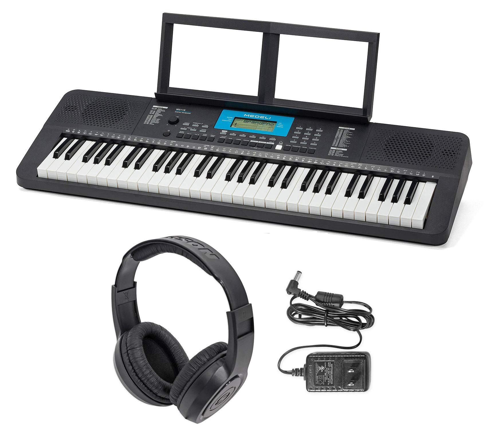 MEDELI M211K 61-Key USB MIDI Keyboard 32-Note Polyphony/Reverb+Heaphones+Adapter