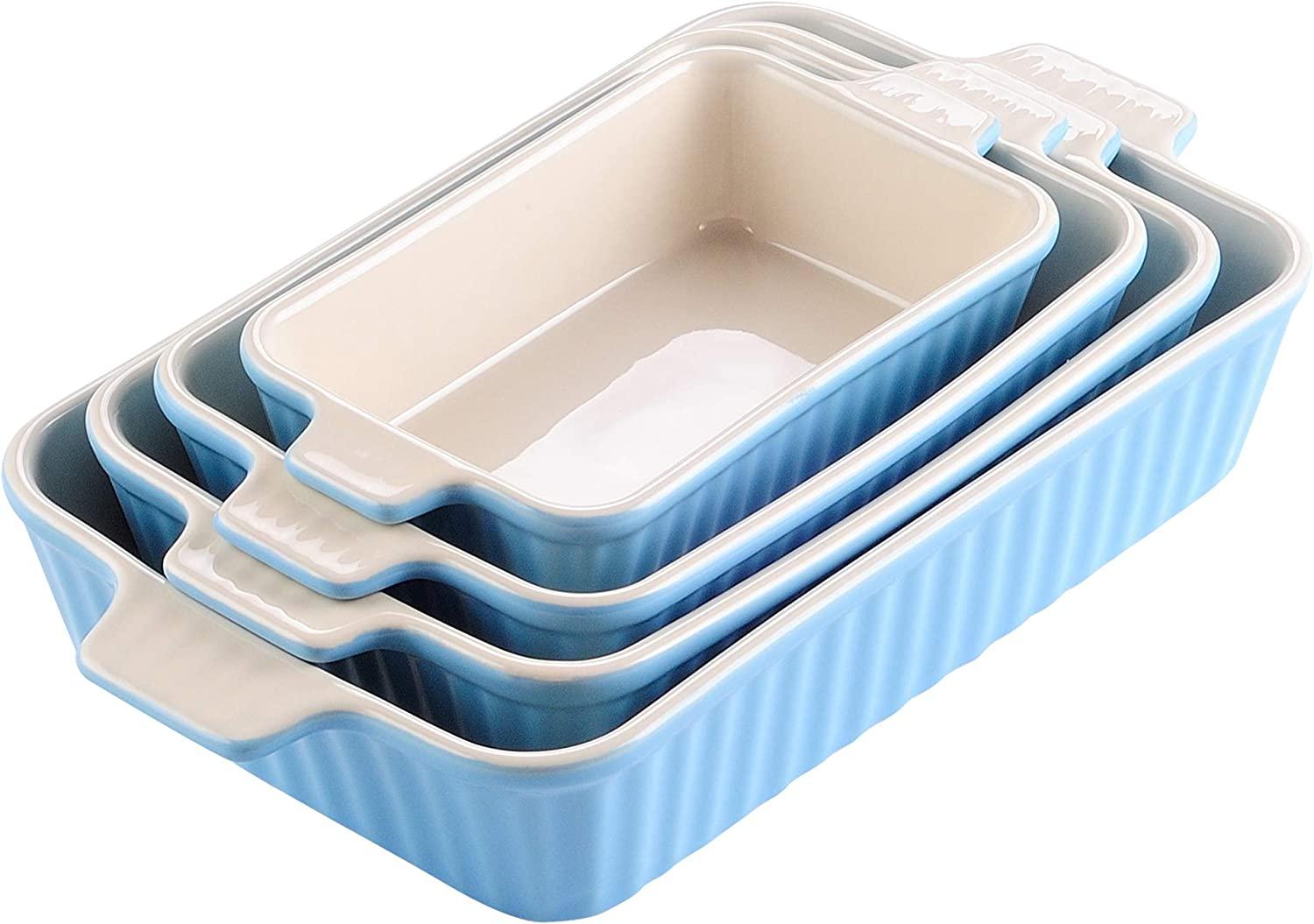 Malacasa Series Bake Rectangular Baking Dish Set Of 4 9 11 12 13 3 Oven To Table Baking Dish With Ceramic Handles Ideal For Lasagne Pie Casserole Tapas Blue Amazon Co Uk Kitchen Home
