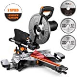 TACKLIFE Miter Saw, 15 Amp Compound Sliding Miter Saw with Double Speed (4500 RPM & 3200 RPM), 3 Blades, Bevel Cut (0°-45°), Red Laser, Extension Table, Iron Blade Guard - EMS01A