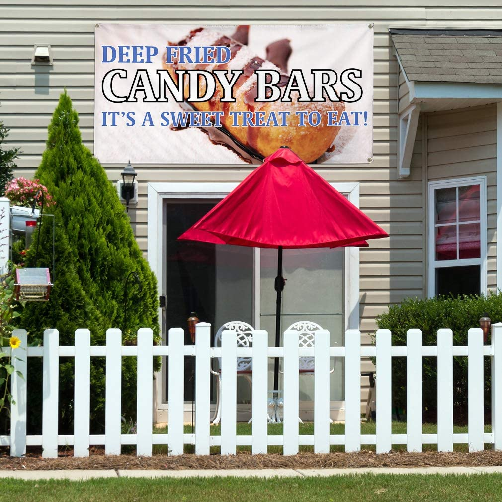 Multiple Sizes Available Vinyl Banner Sign Deep Fried Candy Bars #1 Retail Candy Bar Marketing Advertising Yellow 24inx60in Set of 3 4 Grommets
