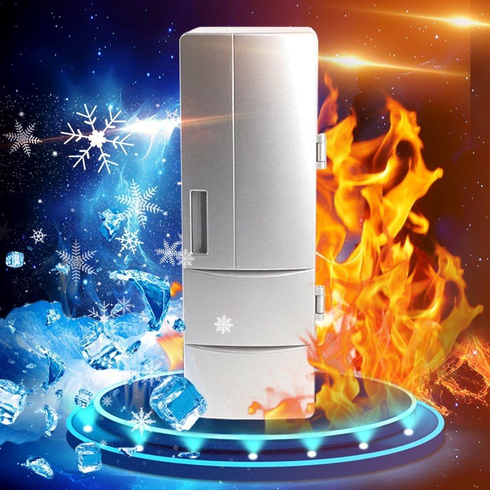 USB Warmer and Refrigerator, TOPEREK Mini PC Beer Beverage Mug Heater & Fridge Electric Portable Car Freezer Cooler for Hot/Cold Drinks Silver