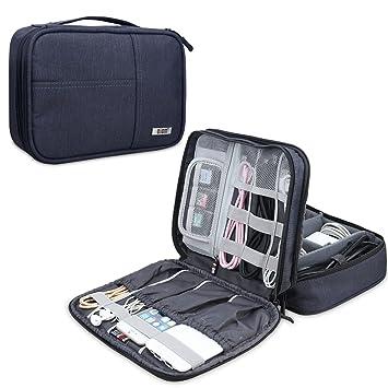 BUBM Organizador para Eléctronica Estuche para iPad Bolsa de Cables Funda de Bantería Extra(Medio,Azul Oscuro)