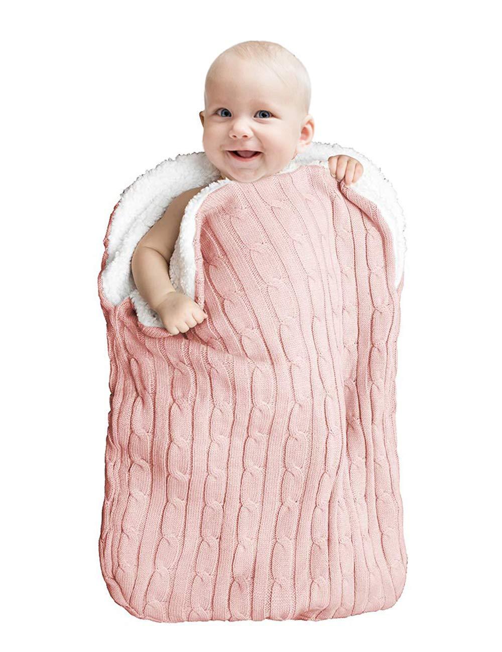 unisex per neonati per neonati da 0 a 12 mesi leggera per passeggino morbida Coperta avvolgente per neonati a maglia in pile spesso