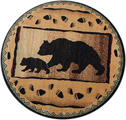 Cabin Round Area Rug with Bear and Cub Image 5 Feet 5 Inch X 5 Feet 5 Inch Round