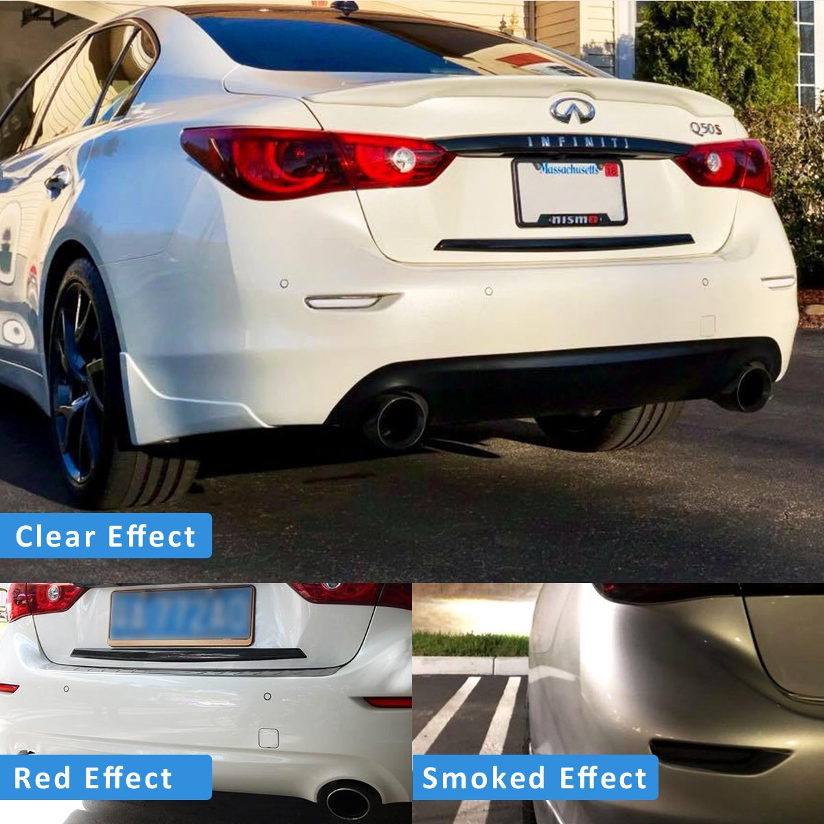 Smoked LED Rear Bumper Reflector Sequntial Relfectors Driving Braking Turing Plug and play Version EASY INSTALLATION For Infiniti Q50 Q50L