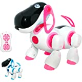 Interactive Remote Control Dog Toy for Girls - Interactive Walking Talking RC Robot Dog Toys for Kids - LED Lights and Sound - Childrens Pet Robot Puppy for Girls - Pink (PL201)