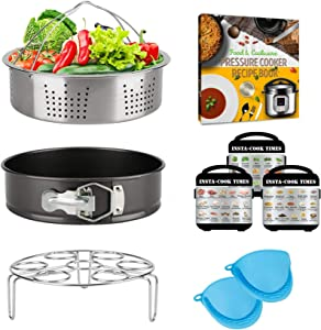 Pressure Cooker Accessories 6 Quart 8 Qt for Instant Pot, Steamer Basket Springform Pan Egg Trivet Cookbook Magnets Receipt, SS304 Stainless, Compatible with Instapot Duo 6 Qt 8 Quart