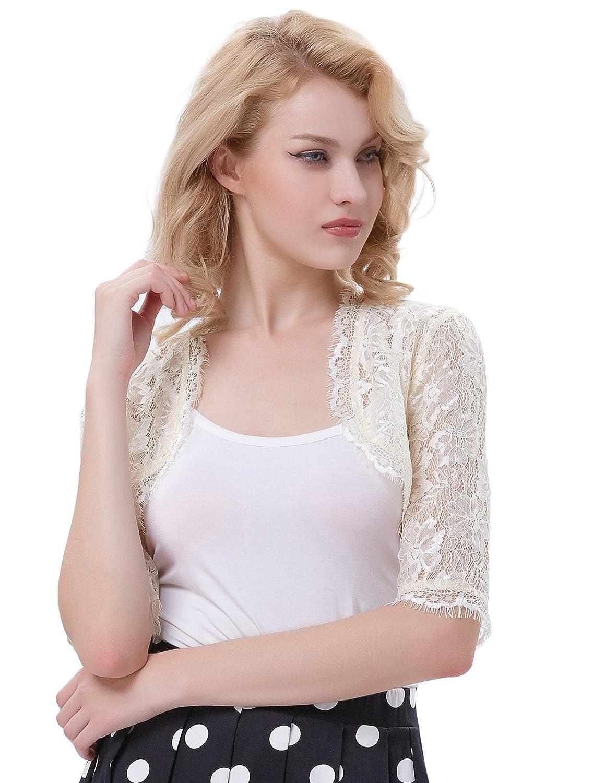 Womens 1950s Vintage Lace Shrug 3//4 Sleeve Cropped Bolero Jacket for Evening Dress