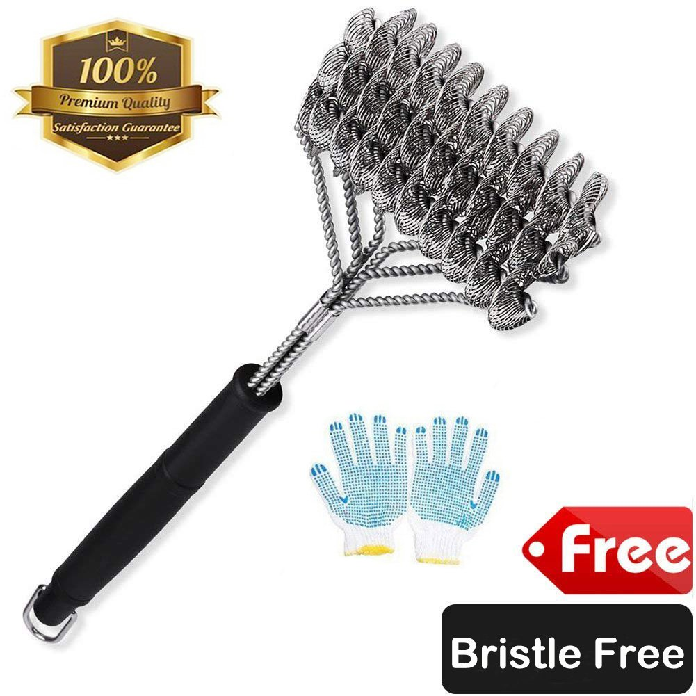 ZOUTOG Bristle Free Grill Brush 3 in 1 Stainless Steel 18'' Cleaning Brush with BBQ Cooking Glove for Weber Gas/Charcoal Grilling Grates