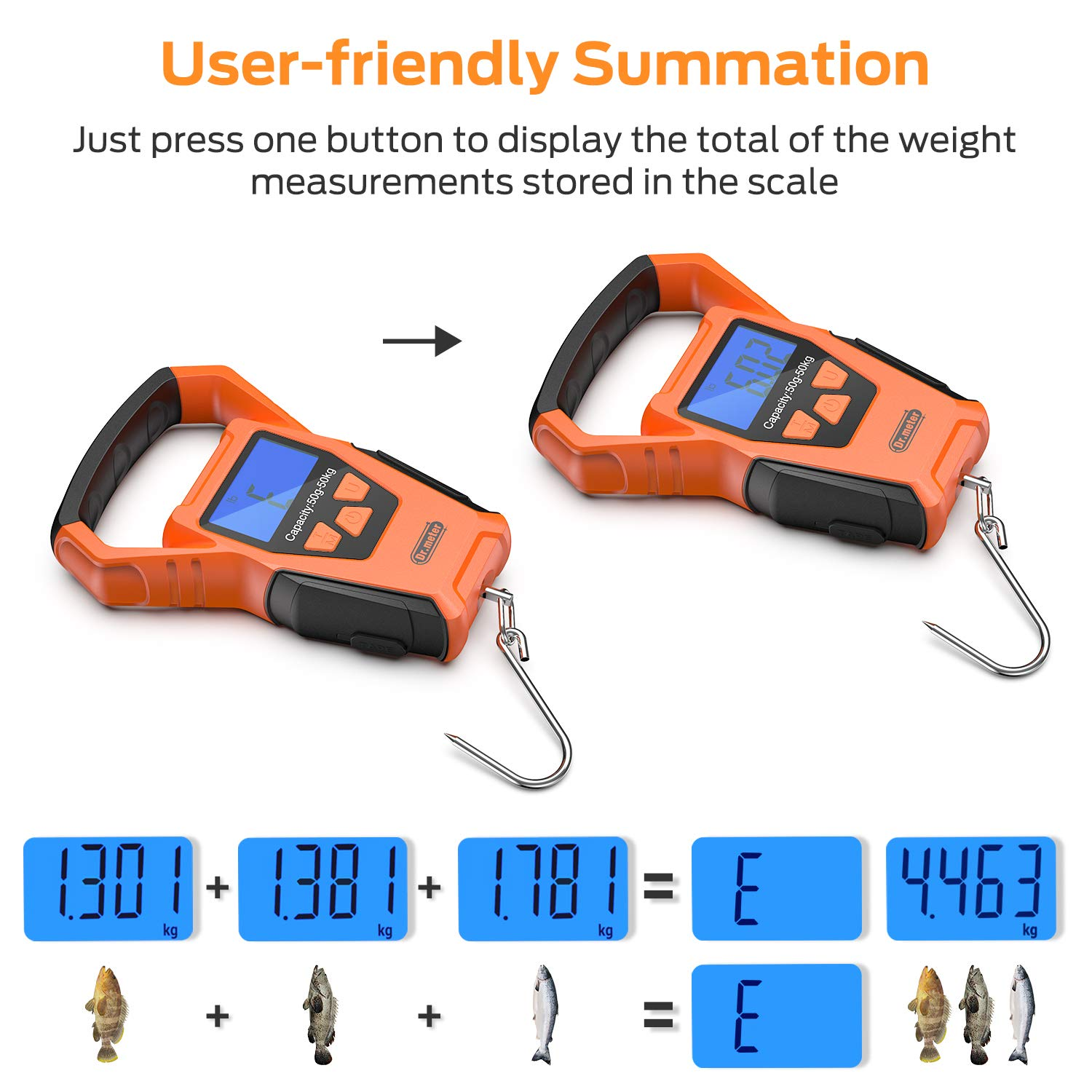 Battery Included Upgraded YW-S068 110lb//50kg Backlit LCD Display Digital Hanging Scale with Bigger Handle and Hook Built-in Tape Dr.meter IPX7 Waterproof Fishing Scale